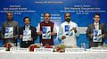 """Ananthkumar releasing the Agenda for the Pharmaceutical Industry in India, at the launch of the """"2015 – Year of Active Pharmaceutical Ingredients"""", in New Delhi. The Minister of State for Chemicals & Fertilizers.jpg"""