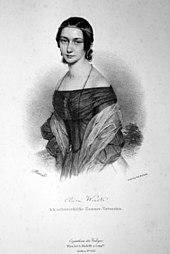Clara Wieck 1838, Lithographie von Andreas Staub (Quelle: Wikimedia)