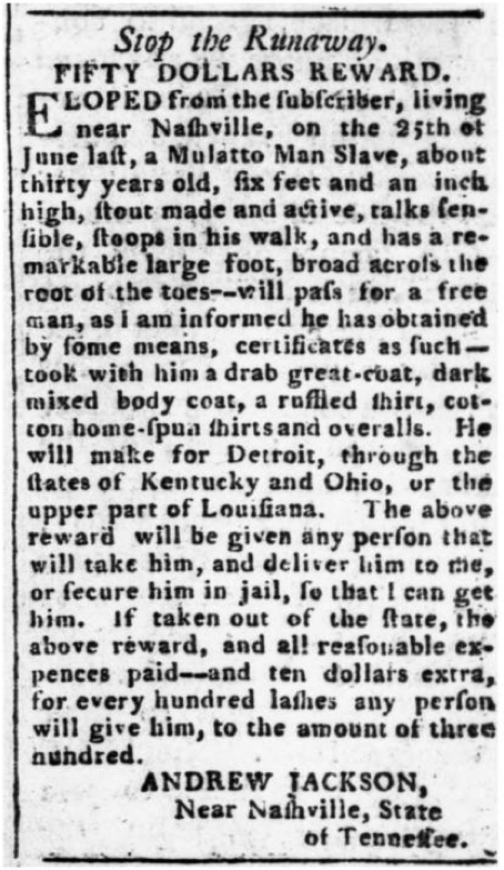 AndrewJackson-RewardNotice-EscapedSlave-1804