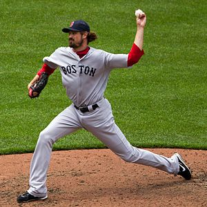 Andrew Miller (baseball) - Miller pitching for the Boston Red Sox in 2012