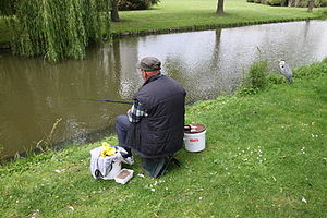 Angler with a Heron beside him they fish both the one for another sport for his bread.JPG