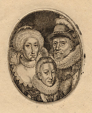 Charles I of England - Engraving by Simon de Passe of Charles and his parents, King James and Queen Anne, c. 1612