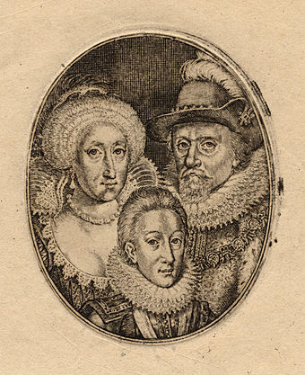 Engraving by Simon de Passe of Charles and his parents, King James and Queen Anne, c. 1612 Anne of Denmark; King Charles I when Prince of Wales; King James I of England and VI of Scotland by Simon De Passe (2).jpg