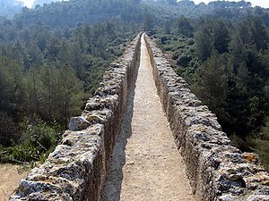 Roman aqueduct - The water conduit of the Tarragona Aqueduct, Spain.