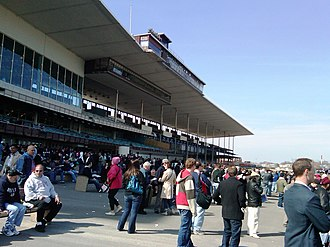 Aqueduct Racetrack - Grandstand at Aqueduct Racetrack and site of the future casino