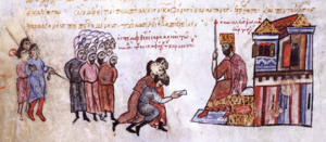 Slavery in the Byzantine Empire - Arab captives are brought before Emperor Romanos III.
