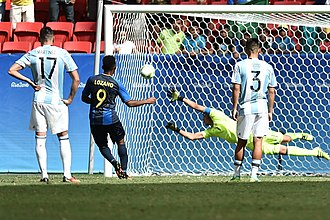 Argentina national under-23 football team - Anthony Lozano scores the goal for Honduras during the match where Argentina was eliminated in 2016.