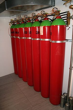 Gaseous fire suppression - Canisters containing argon gas for use in extinguishing fire in a server room without damaging equipment.