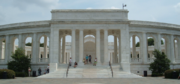 Exterior facade of the Arlington Memorial Amphitheater is modeled on Roman amphitheatres. It is built of Vermont Imperial Danby marble in the Ionic order.