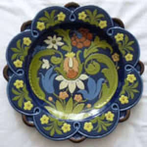 """Aller Vale Pottery - 12"""" Plaque decorated in Art Nouveau style with a seed-head, tendrils and flowers"""