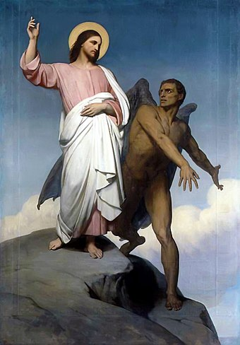The devil, in opposition to the will of God, represents evil and tempts Christ, the personification of the character and will of God. Ary Scheffer, 1854.