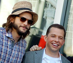 Ashton Kutcher - Kutcher with Two and a Half Men co-star Jon Cryer in September 2011