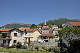 A view of Aspres-sur-Buëch, with the clock tower overlooking the village
