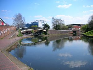 Digbeth Branch Canal - Aston Junction. The Digbeth Branch Canal begins, top right.