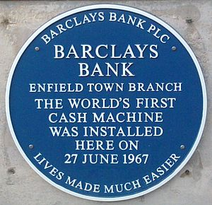 Plaque commemorating installation of world's first bank cash machine Atmplaque.jpg