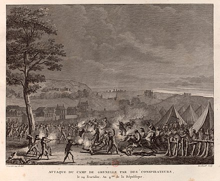 Attack by the followers of Babeuf on the army camp of Grenelle on 9 and 10 September 1796. Drawing by Abraham Girardet, engraving by Pierre-Gabriel Berthault, 1802. (BNF, Departement des Estampes) Attaque camp de Grenelle.jpeg