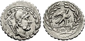 Aurelia (gens) - Denarius of Lucius Aurelius Cotta, 105 BC. The obverse is identical with the coins of Lipara, captured by Gaius Aurelius Cotta in 252 BC.  The reverse depicts the triumph awarded for this victory.