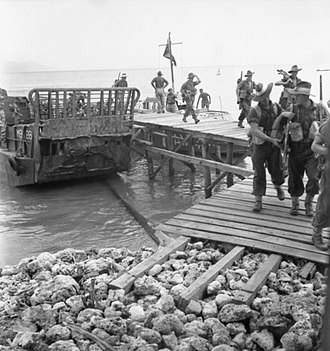 24th Brigade (Australia) - Troops from the 24th Brigade land at Jesselton, September 1945