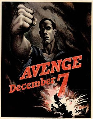 Pearl Harbor advance-knowledge conspiracy theory - U.S. propaganda poster calling for revenge for the Pearl Harbor attack.