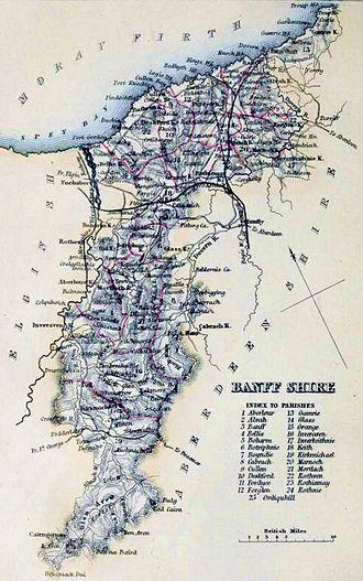 Banffshire - Banffshire civil parish map c. 1854