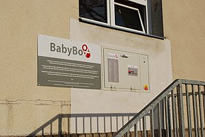 Child abandonment - A modern Baby box or Baby hatch in the Czech Republic where a baby can be anonymously abandoned while ensuring that the child will be cared for.