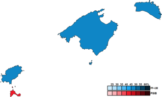 Balearic regional election, 1991 - Image: Balearic Islands District Map Parliament 1991