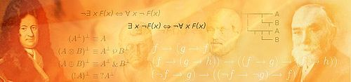 A red-orange banner compositing mathematical subject.  Images include mathematical formulae, Gottfried Leibniz, Aristotle and Gottlob Frege.