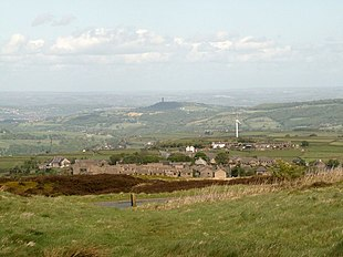 "Hade Edge, from Bare Bones Road looking towards Victoria Tower, <a href=""http://search.lycos.com/web/?_z=0&q=%22Castle%20Hill%2C%20Huddersfield%22"">Castle Hill</a>"