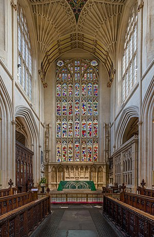 The stained glass and altar at the eastern end of Bath Abbey in Somerset, England.