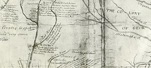 Battle of Flint River - This detail of an early 18th-century map shows the approximate location of the battle on the Flint River.
