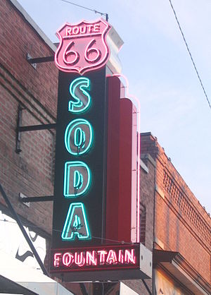 This is the sign from the soda fountain on Rou...