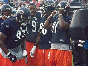 Adewale Ogunleye - Ogunleye, along with Tommie Harris, Alex Brown and Mark Anderson during training camp in 2008