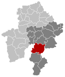 Location of Beauraing in Namur province