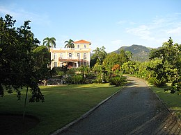 Brick mansion in town of Jarabacoa, Dominican Republic