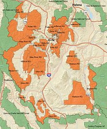 A map of Beaverhead-Deerlodge National Forest with ranger districts and surrounding forests labelled