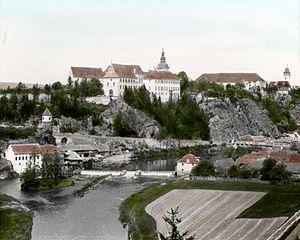 Bechyně - Bechyně at the beginning of 20th century.  Photographed by Šechtl and Voseček.