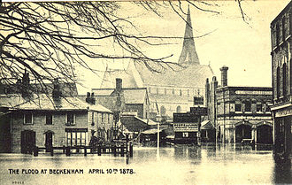 Beckenham - Central Beckenham, exceptionally flooded in 1878.