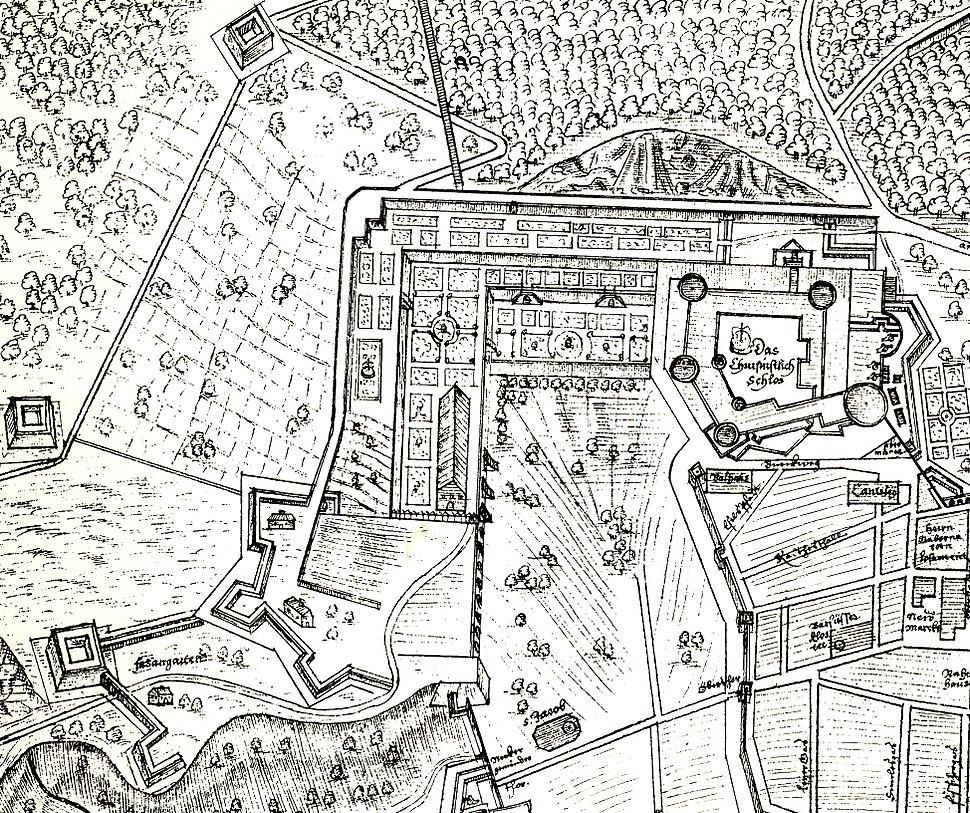 Befestigungsplan des Heidelberger Schlosses 1622 von Anonymus