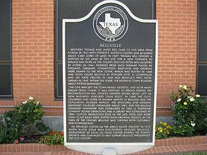 Thomas B. Bell - Texas state historical marker at Bellville city hall