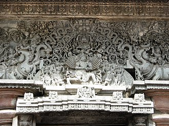 Lintel - Ornamental carved lintel over Mandapa entrance at Chennakesava Temple, in the Hoysala architecture tradition of southern India