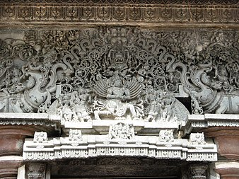 Ornamental carved lintel over Mandapa entrance at Chennakesava Temple, in the Hoysala architecture tradition of southern India Belur2 retouched.jpg