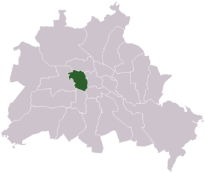 Lage des ehemaligen Bezirks Tiergarten in Berlin