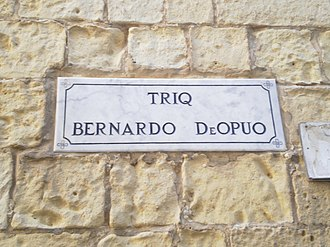 Invasion of Gozo (1551) - A street in the Citadel named after Bernardo Dupuo.