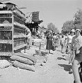 Bersjeba. Markt met o.m. hokken met levend pluimvee en op de grond zakken met aa, Bestanddeelnr 255-3533.jpg