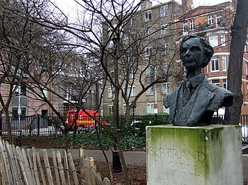English: Bertrand Russell and Conway Hall Behi...
