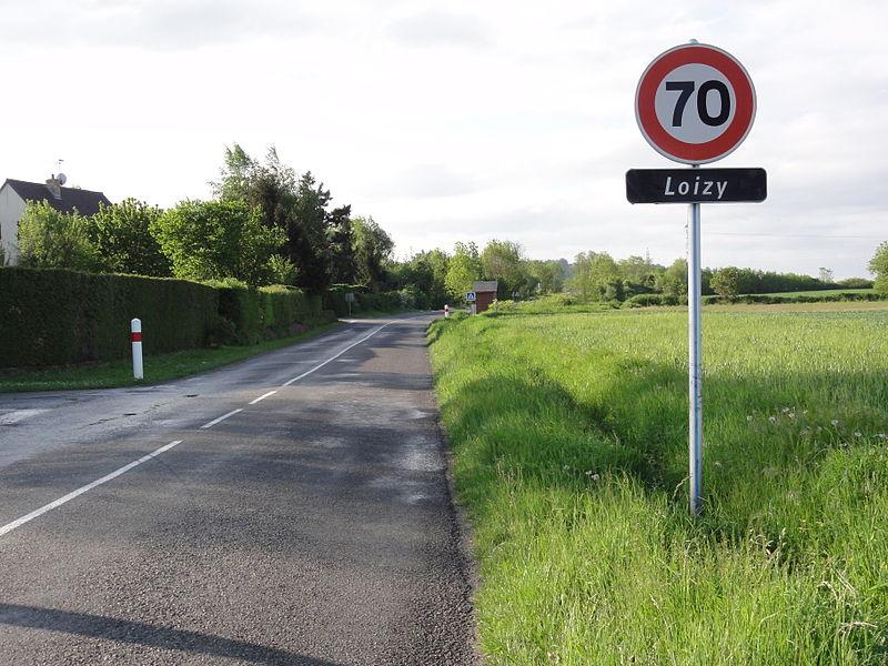 Besny et Loizy (Aisne) city limit sign Loizy