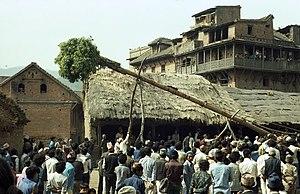 The festival of Bisket Jatra in Bhaktapur, Nepal