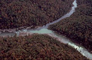 Big South Fork of the Cumberland River - Areal view of the confluence of the New River and the Clear Fork