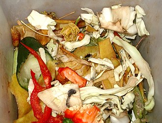 Food waste - A bin containing biodegradable waste
