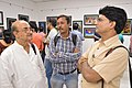 Biswatosh Sengupta Discussing with Chandan Das and Tarun Das - 43rd PAD Group Exhibition - Kolkata 2017-06-20 0433.JPG